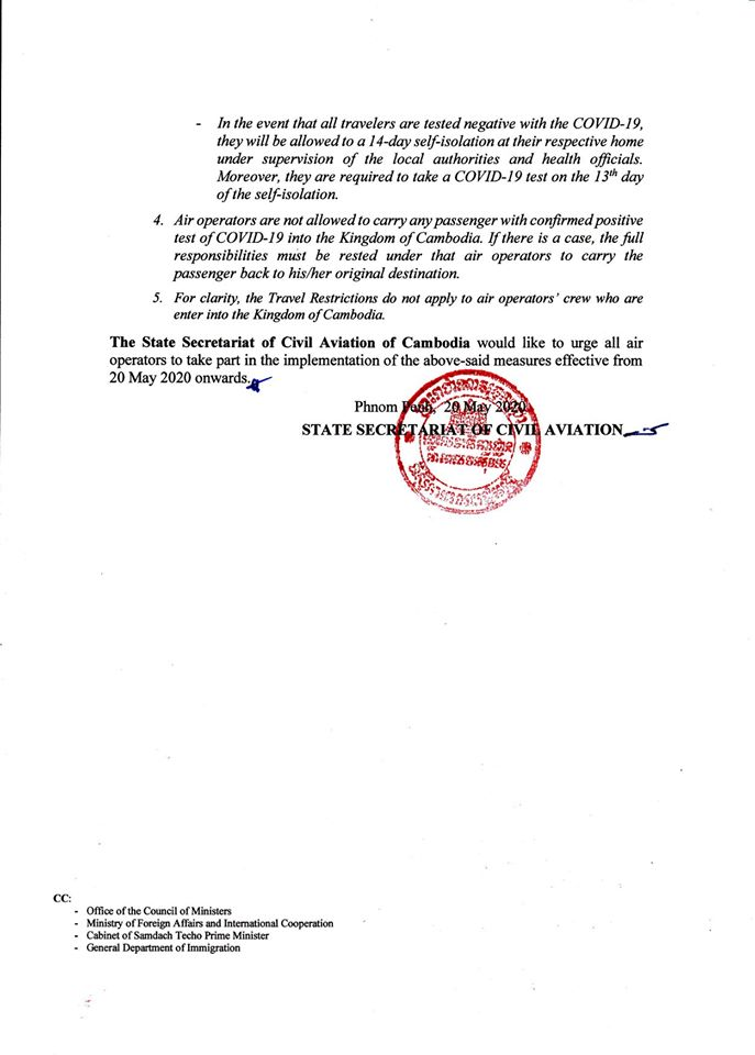 SCCA Foreign Travelers to Cambodia requirements 2020